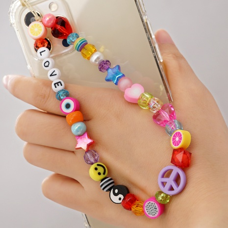 ethnic style acrylic letter beads five-pointed star peach heart beads fruit eyes pendant mobile phone lanyard NHYUZ369279's discount tags