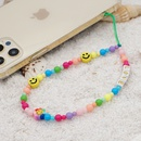 bohemian style acrylic mixed color smiley face round beads mobile phone chain lanyard  NHYUZ369281