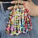 Ethnic style acrylic mixed color round beads green printing mobile phone chain lanyard  NHYUZ369282