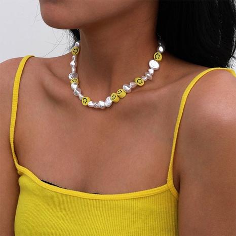 Retro Barock Perlen Smiley Schlüsselbein Halskette NHPF369307's discount tags