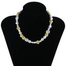 retro baroque pearl smiley face clavicle necklace   NHPF369307