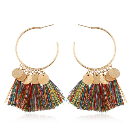 Bohemian round piece colorful wire pendant tassel earrings NHVA369316's discount tags