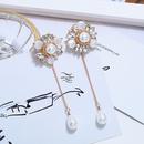 Retro lace crochet pearl bright diamond flower earrings NHVA369324