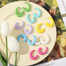 creative simple geometric C-type solid color earrings NHYI369447