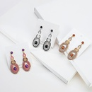Baroque long geometric circular hollow diamond earrings NHBD369505