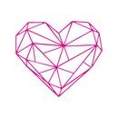 Simple geometric pattern rose red heart bedroom wall sticker NHAF369512