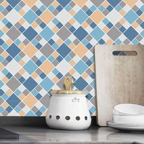 Stickers muraux de cuisine carreaux carreaux bleus et jaunes rétro NHAF369518's discount tags
