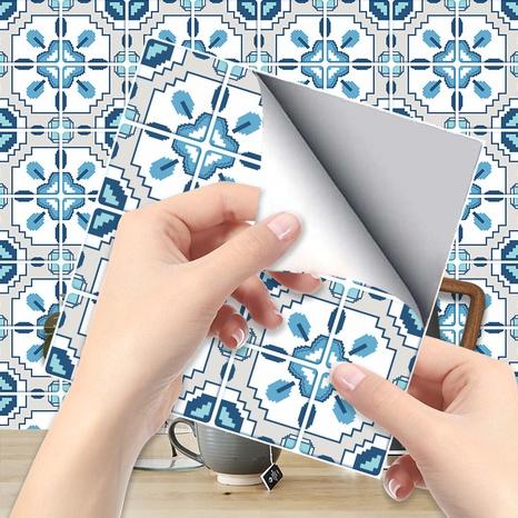 ethnische blaue kontrastfarbenmuster gitterfliesen renovierungsaufkleber NHAF369534's discount tags