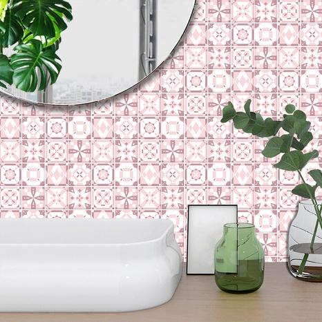 ethnische rosa Schneeblumenmuster Gitter Fliesen Renovierung Aufkleber NHAF369540's discount tags