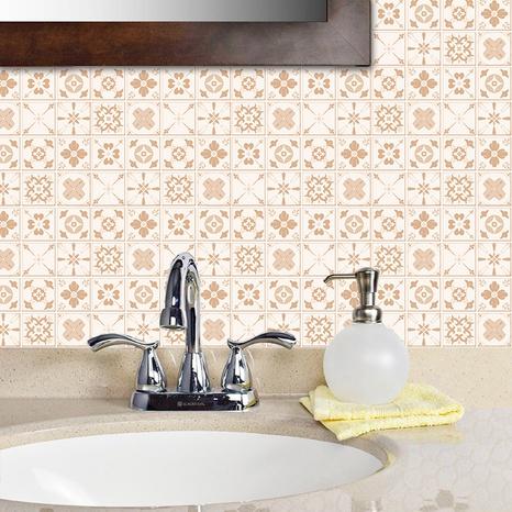 ethnische geometrische gelbe muster gitterfliesen renovierungsaufkleber NHAF369542's discount tags