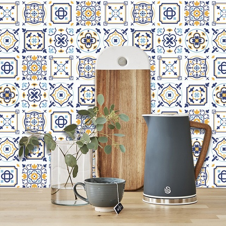 ethnic contrast color pattern lattice tile kitchen bathroom wall stickers NHAF369547's discount tags