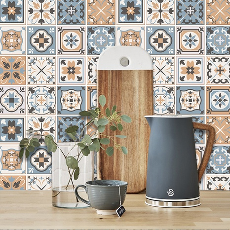 Retro contrast color flower pattern lattice tile renovation stickers NHAF369548's discount tags