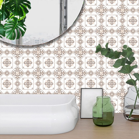Retro leafs pattern lattice tile renovation stickers  NHAF369551's discount tags