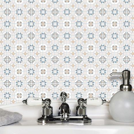 Retro star flower pattern lattice tile renovation stickers NHAF369552's discount tags