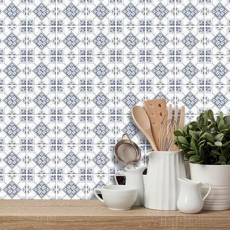 Retro kaleidoscope pattern lattice tile renovation stickers  NHAF369553's discount tags