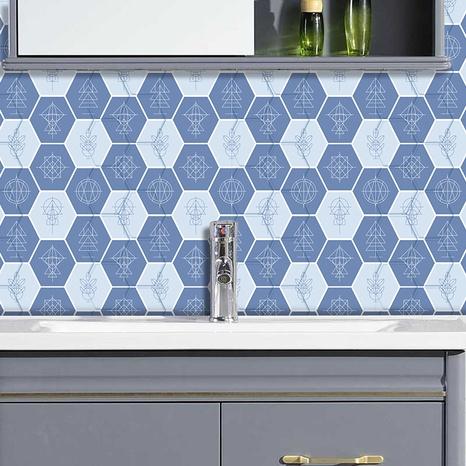 Retro blue geometric line pattern ceramic tile renovation stickers NHAF369555's discount tags