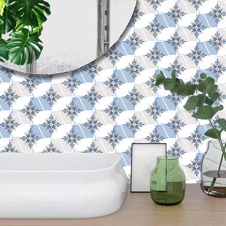 Retro blauer Blumenmuster-Keramikfliesen-Renovierungsaufkleber NHAF369556's discount tags