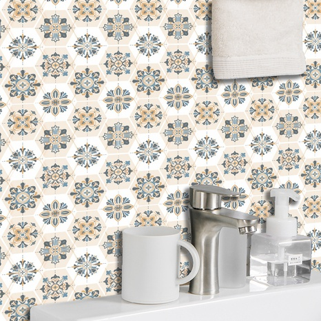 Ethnic Kaleidoscope flower pattern lattice tile renovation stickers  NHAF369557's discount tags