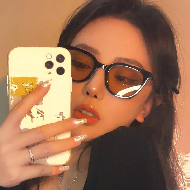 Retro brown square cat eye sunglasses  NHKD369559