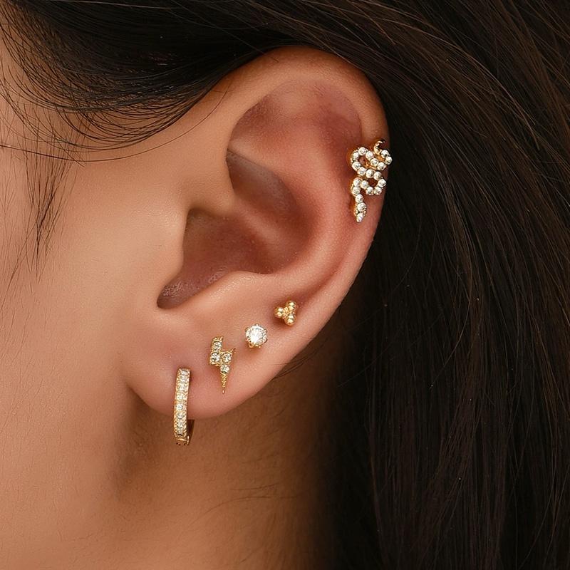 Korean simple geometric diamond ear clip set NHAJ371484