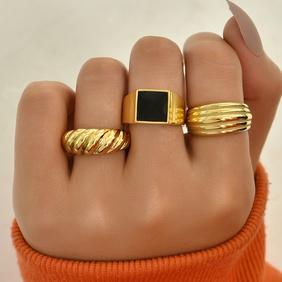 Simple new geometric alloy diamond ring set NHAJ371477