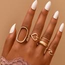 Korean geometric heartshaped ring combination NHAJ371474