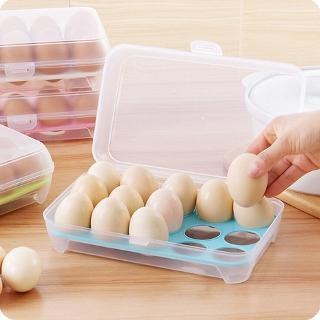 simple kitchen portable storage fresh-keeping plastic 15 grid egg box  NHYUE369616's discount tags