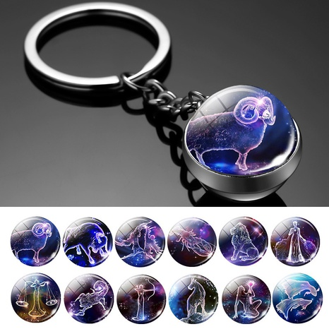 Twelve constellation luminous double-sided glass ball key chain key chain pendant wholesale NHWQ369664's discount tags