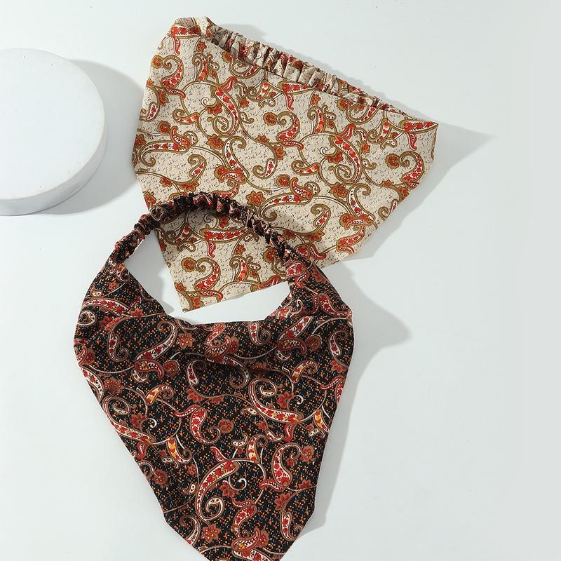 simple floral elastic triangle scarf headband wholesale  NHAU368866