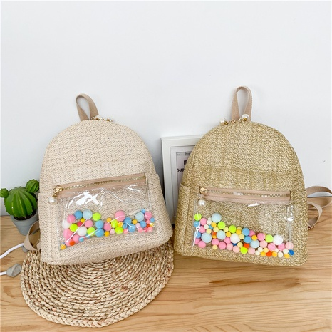 Korean pearl zipper color ball straw braided backpack  NHTG369832's discount tags