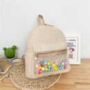 Korean pearl zipper color ball straw braided backpack  NHTG369832