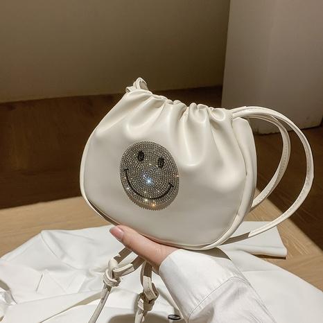 Fashion diamond-encrusted smiley face soft PU crossbody fold cloud bag NHTG369844's discount tags