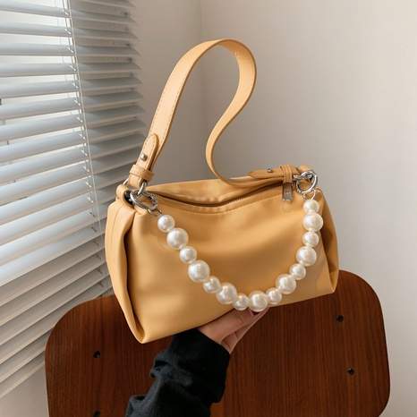 Korean solid color pearl chain soft pillow bag  NHTG369857's discount tags