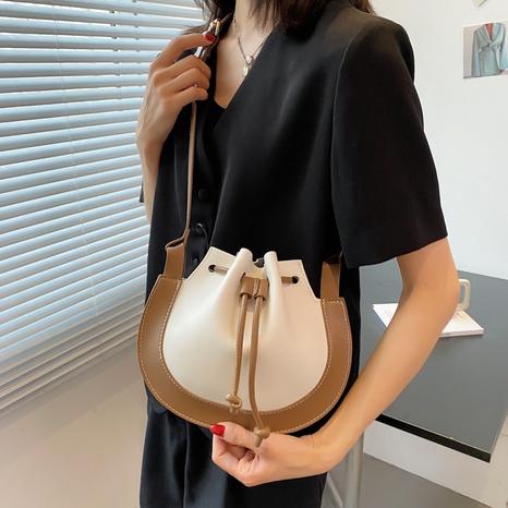 Fashion contrast color drawstring bucket bag NHTG369859's discount tags