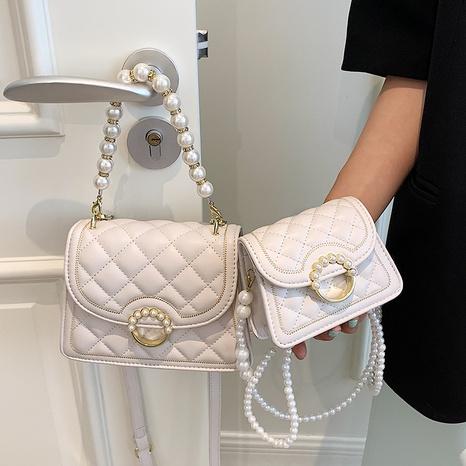 Fashion lingge pearl chain botton messenger bag NHTG369862's discount tags