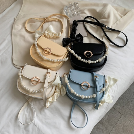 fashion pearl chain bow knot saddle bag NHJZ369872's discount tags