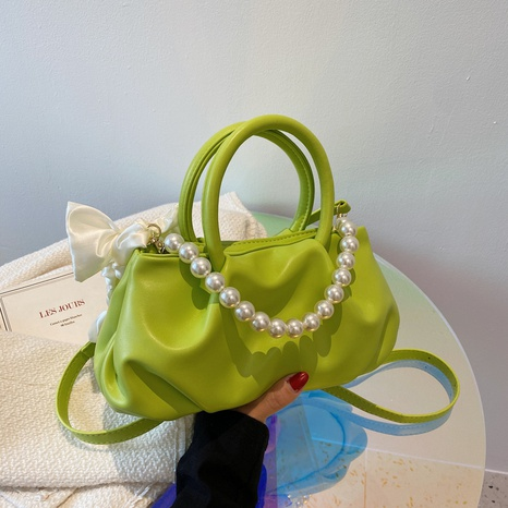 fashion pearl chain fold lightweight cloud bag NHJZ369876's discount tags
