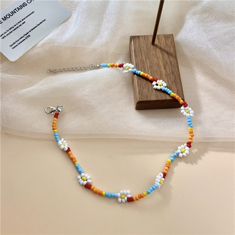 simple colorful woven handmade flower bead necklace NHPF369916's discount tags