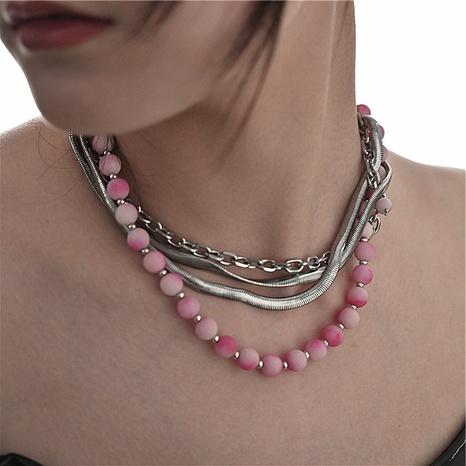 Retro-Edelstahl-Halskette mit mehrlagigem Verlauf aus rosa Naturstein mit Schlangenknochen NHMS369927's discount tags