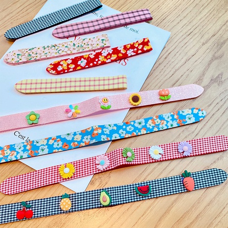 Korean plaid floral fruit Velcro headbands  NHNA363381's discount tags