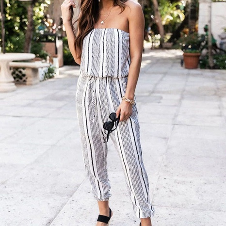 New Striped Wrapped Chest Loose Rompers NHIS372092's discount tags