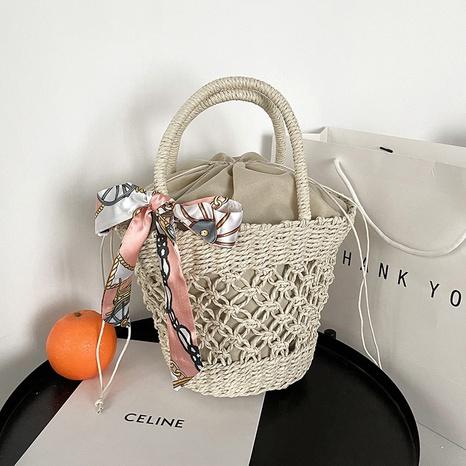 sac de plage tressé en paille portable rétro à la mode NHRU360361's discount tags