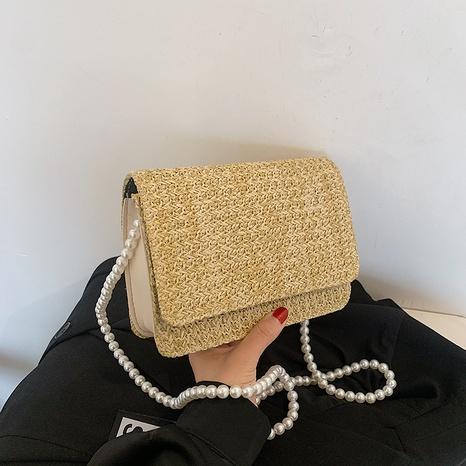 Petit sac carré de messager portatif de perle tissée de paille de mode NHRU360400's discount tags