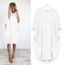 casual midlength sleeved solid color wild round neck midi dress NHKO361135