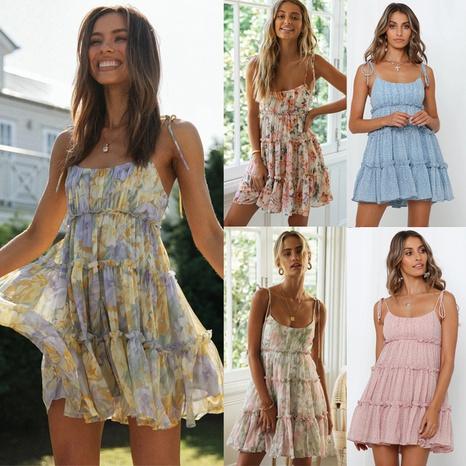 nouvelle robe licou à bretelles imprimées à la mode NHKO361102's discount tags