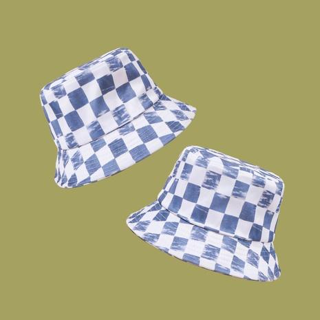 Koreanischer Artmode blau-weiß karierter Sonnenschirm Fischerhut NHAMD360663's discount tags