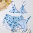 Bikini trois pices fendu  taille haute et imprim  glands NHHL360667