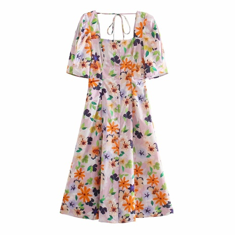 wholesale fashion square neck floral thin dress  NHAM360766's discount tags