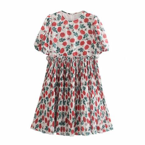 Wholesale Fashion Folded Rose Printing Puff Sleeve Dress  NHAM360767's discount tags