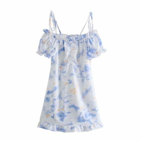 Wholesale Tie-Dye High Waist Floral Short Sling Dress  NHAM360768's discount tags